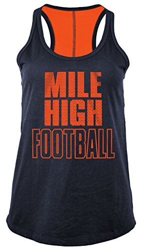5th & Ocean NFL Denver Broncos Women's Baby Jersey Racer Back Tank Top with Contrasting Colors, Large, - Ocean 5th Shorts &