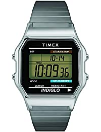 Men's T78587 Classic Digital Silver-Tone Stainless Steel Expansion Band Watch
