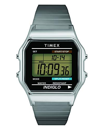 (Timex Men's T78587 Classic Digital Silver-Tone Stainless Steel Expansion Band Watch)