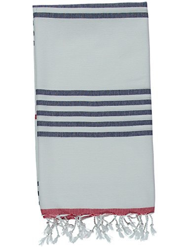 Kuru Towels - Turkish Beach Towels - 100% Cotton Premium Quality Multipurpose Peshtemal for Fast Drying & Easy Storage. Great for Travel, Spa, Pools, Bath and Gym - Sail Navy and Red