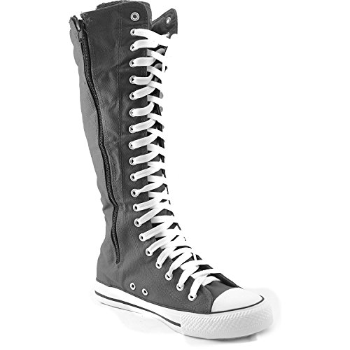 0827a210eca Mid Calf Knee High Woman Boots Tall Classic Canvas Sky High Lace up Stylish  Punk Flat