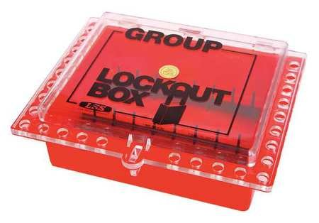 Group Lockout Box, 27 Locks Max, Red by SAALMAN SAFETY