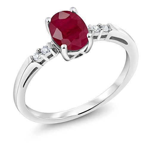 Gold Genuine Ruby Ring - 14K White Gold Red Ruby and White Diamond Women's Ring (1.05 Ct Oval Available in size 5, 6, 7, 8, 9)