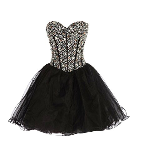 Exlinalesha 2016 Strapless Prom Party Sweetheart Cocktail Dress (Black Strapless Prom Dress)