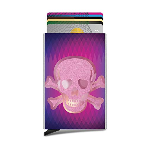 (Pink Skull Crossbone Business Card Case Automatic Pop Up Card Holder Slim Metal Credit Card Wallet Minimalist Card Protector Professional Thumb Drive Name Card Carrier)