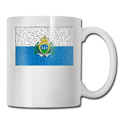 (TNIJWMG San Marino Flag Puzzle Ceramic Coffee Mug with Large C-Handle for Office Home Travel 11 OZ)