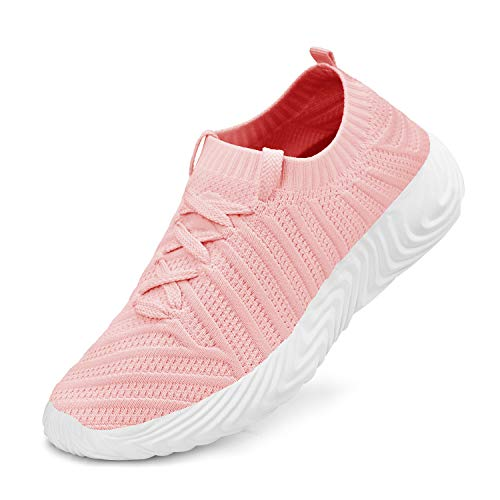 ZOCAVIA Tennis Shoes for Women Lightweight Breathable Mesh Ladies Walking Running Gym Sneakers Pink 9