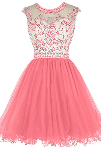 Cocktail rotondi Rueckenfrei preferiti Rosa colletto Vestito vestito pietre ressing Mini sera donna Festa da Party ivyd vestito 07ExwBqp