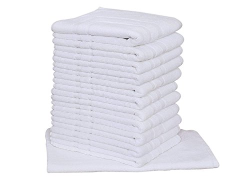 (24pc Lot of New White Cotton Hotel Bath Mats 7#dz 20x30 Hotel Supplies Wholesale By OMNI LINENS)