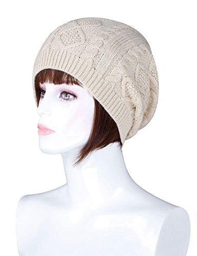 Women Pom Pom Warm Winter  Knit Hats Beanies Women Slouch , 391-beige, One Size (Knit Slouch Hat)
