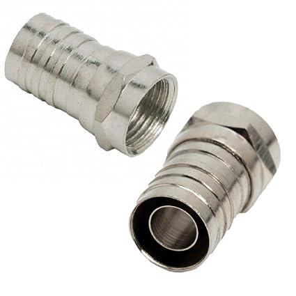 05063 25 x engaste Modular macho tipo F extremos conectores para RG6U para Cable Coaxial