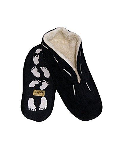 Pantuflas unisex, antideslizantes, piel, en distintos colores y números 35-52 Negro - negro