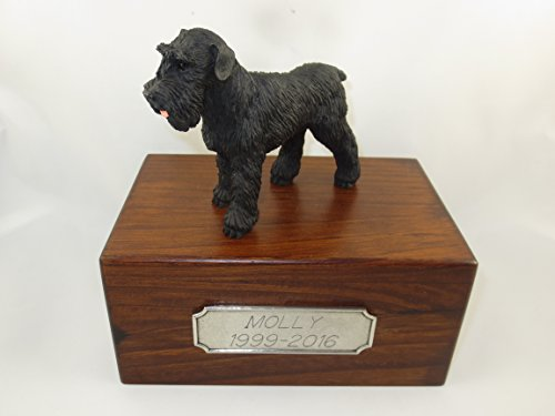 Beautiful Paulownia Small Wooden Urn with Black Uncropped Schnauzer Figurine & Personalized Pewter Engraving ()