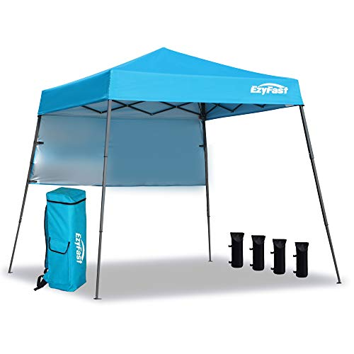 EzyFast Ultra Compact Backpack Canopy, Pop Up Shelter, Portable Sports Cabana, 7.5 x 7.5 ft Base 6 x 6 ft top for Hiking, Camping, Fishing, Picnic, Family Outings