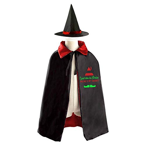 (Voozerd Smiling is My Favorite Christmas Halloween Party Cosplay Costume Kids Cloak Wizard Witch Cape & Hat)