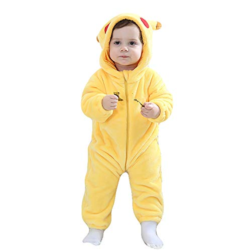 Unisex Baby Romper Winter and Autumn Flannel Jumpsuit Animal Cosplay Outfits(Pikachu,90cm-(13-18months))