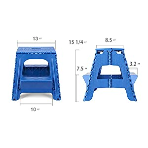 Acko 2-in-1 Dual Purpose Stool Two Step Ladder Durable Plastic Folding Stool with Pedal Easy Storage 15 Inches Height 350 lbs Capability Blue Color