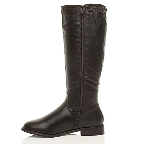low boots size heel ladies buckle Black Womens calf zip riding flat knee Ajvani qvEnpRfwPn
