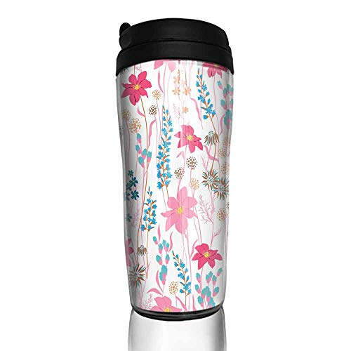 coffee cups holder Seamless Pattern wind blow flowers Isolated on whhite color Botanical Floral Decoration Texture Vintage Style Design for Fabric Print Wallpaper Background 12 oz,heater for coffee c ()