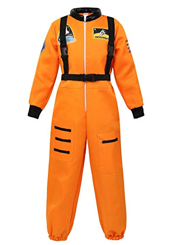 Famajia Boys Kids Children Astronaut Role Play Jumpsuit Dress up Halloween Costume Orange Medium