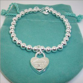 9f505f8dd ... tiffany style 925 sterling silver heart charm bead bracelet arrives in  a pretty gift bag ...