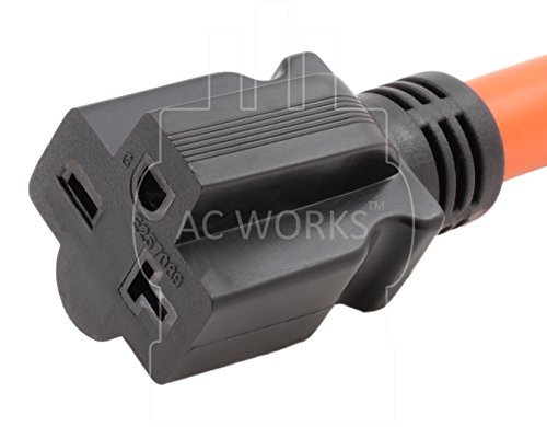 AC WORKS [S1430620-012] 1FT STW 10/3 4-Prong Dryer 14-30P Male Plug to NEMA 6-15/20R 15/20Amp 250Volt Female Connector by AC WORKS (Image #3)