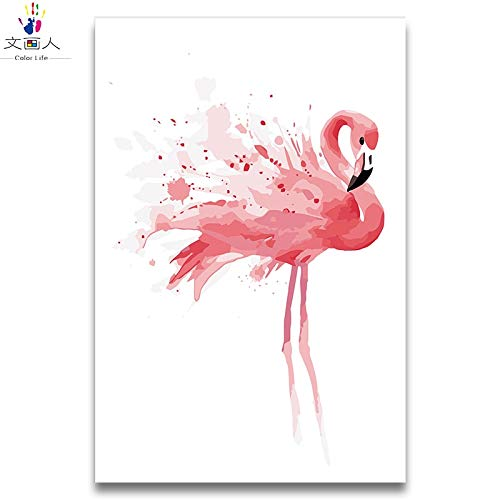 40x50 with frame 6088 KYKDY Flamingo Series Painting Drawing coloring Pictures by Numbers Animals Birds with Paint colors for Gir for Living Room Decor,4145,70x90 no Frame