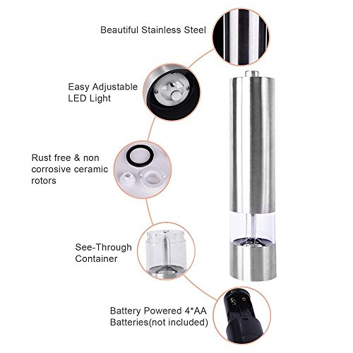 2 Pack Salt and Pepper Grinder with Adjustable Ceramic Rotor Pepper Mill Made of Brushed Stainless Steel Suit Spice Mill Salt and Pepper Shakers 6oz Tall Body by WANGBO (Image #3)
