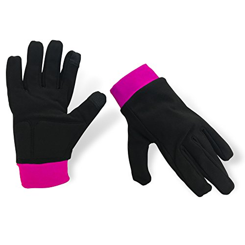Water-Resistant Ice Skating Gloves with Protective Padding, Touchscreen Fingertips, Fleece Lining (Black & Pink, Small)