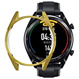 Smartwatch Bumper Case for Huawei Watch GT, Tuscom Ultra Slim Electroplate TPU Protective Frame Anti Shatter Shockproof Case Cover Shell for Huawei Watch GT Smart Watch (Gold)