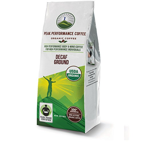 Peak Performance High Altitude Organic Coffee. No Pesticides, Fair Trade, GMO Free, Full Of Antioxidants! USDA Certified Organic (Decaf Ground)