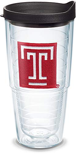 Tervis 1085327 Temple Owls Logo Tumbler with Emblem and Black Lid 24oz, Clear