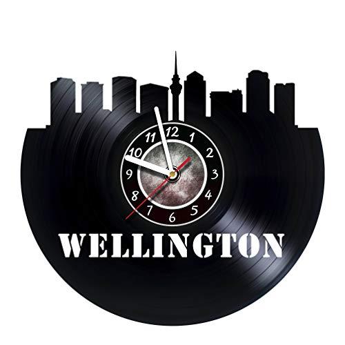AMARAroom Wellington City - Wall Clock Made of Vinyl Record - Original Decor - Unique Design - Incredible Gift Idea for Christmas Birthday Anniversary Women Men Boyfriend Girlfriend Teens Friends -