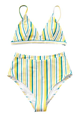CUPSHE Women's Striped Love Story Back Hook Bikini (X-Large (USA 16/18), Yellow Blue)