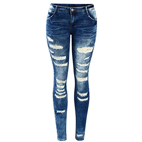 Lightweight Low Rise Jeans - SKINNY JESNS Women`S Blue Low Rise Skinny Distressed Washed Stretch Denim Jeans for Women Ripped Pants M