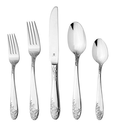 DANIALLI 60 Piece Silverware Set For 12, 18 10 Stainless Steel Silverware Set, Modern Imperial Flatware Set, Include Knife/Fork/Spoon & Long Teaspoon/Salad Fork Mirror-Polished Dishwasher Safe Cutlery