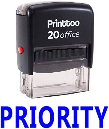 Printtoo Priority Zelfinkende Rubber Stempel Office Stationaire Aangepaste StempelInktkleur Beschikbaar 14 mm x 38 mm Approx Blauw