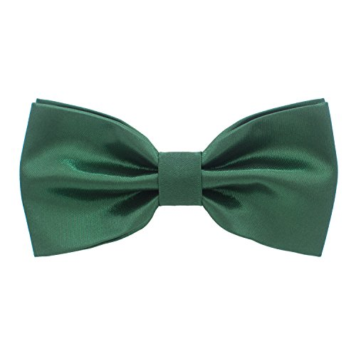 (Satin Classic Pre-Tied Bow Tie Formal Solid Tuxedo, by Bow Tie House (Small, Jade Green))
