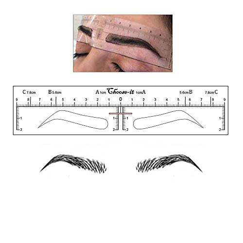 50Pcs Microblading Ruler Sticker Eyebrow Shaping Stencils Microblading Supplies Disposable Adhesive Eyebrow Template Permanent Makeup Measure Tool
