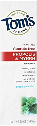 Tom's of Maine Natural Fluoride Free Propolis and Myrrh Toothpaste, Peppermint, 5.5 Ounce