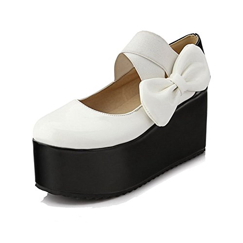 Women's Pull Solid High Round Leather White Pumps Closed Toe Shoes On WeenFashion Patent Heels UwxHq1Ud