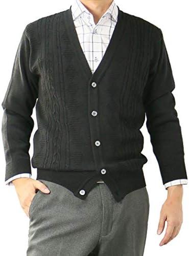 カーディガン メンズ 日本製 ビジネス Vネック ニット 洗える ウォッシャブル ウォームビズ ウール混 318654