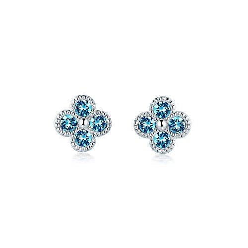 Designer Flowers Stud (MYJS Blossom Designer Flower Stud Earrings Rhodium Plated with Aquamarine Purple Swarovski Crystals)