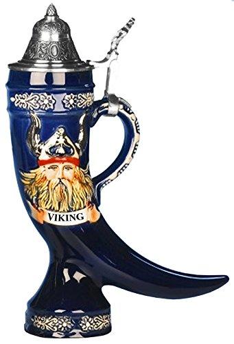 (Beer Stein Viking relief horn 0.5 liter tankard, beer mug)