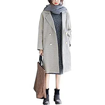 Hixiaohe Women's Winter Casual Double Breasted Wool Blend Pea Coat Trench Coat - Gray - One Size
