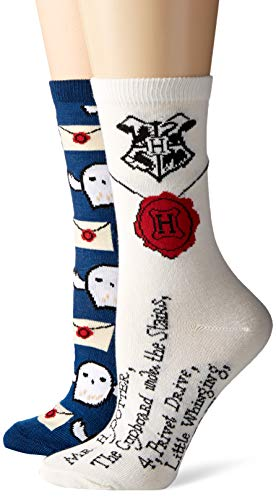 Harry Potter Hedwig Letter to Hogwarts Juniors/Womens Crew Socks 2 Pair Pack from HARRY POTTER
