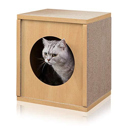 Way Basics - Rascador para Gatos, Respetuoso con el Medio Ambiente, diseño de cubeta de casa, Natural (Hecho de cartón no...