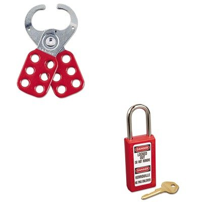 KITMLK411REDMLK421 - Value Kit - Master Lock Lightweight Zenex Safety Lockout Padlock (MLK411RED) and Master Lock Steel Lockout Hasp (MLK421)