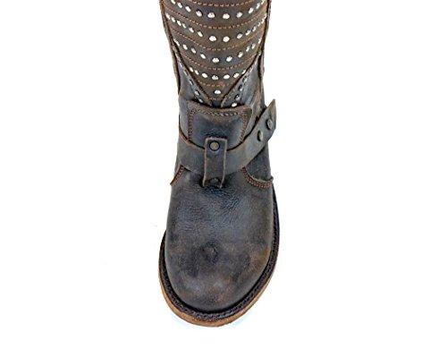 Frihet Svart Lb-71242 Vintage Cafe Studded Boots