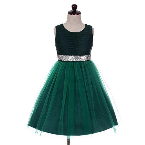 Girl Embellishments (Dressy Daisy Girls' Sequins Embellishment Flower Girl Pageant Party Dresses Kid Size 6 Dark Green)